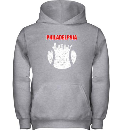 xjqs vintage philadelphia cityscape baseball retro youth hoodie 43 front sport grey