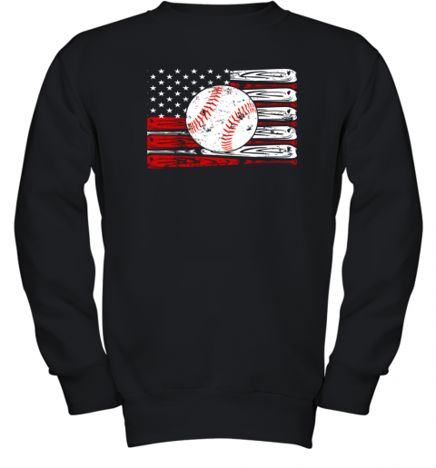 Vintage Baseball American Flag Shirt 4th Of July Gifts Youth Sweatshirt