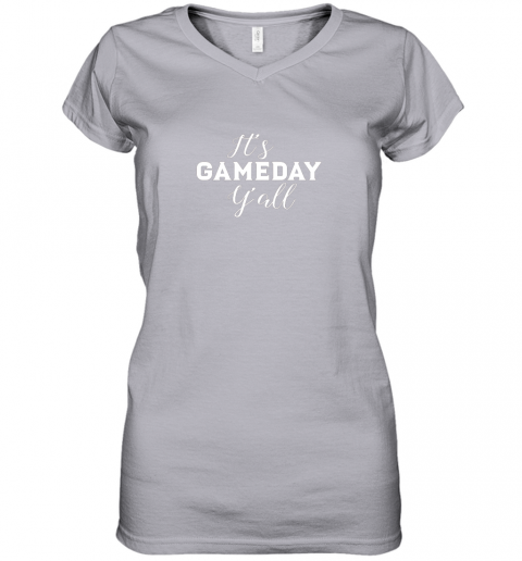 pyay it39 s game day y39 all football baseball basketball women v neck t shirt 39 front sport grey