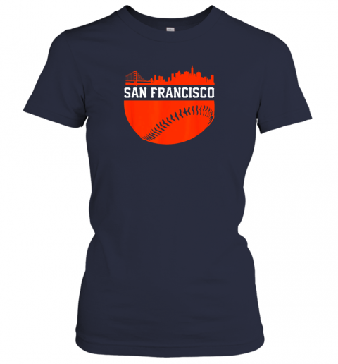 oplv san francisco baseball vintage sf the city skyline gift ladies t shirt 20 front navy