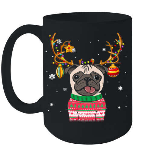 Pug Reindeer Christmas Holiday Funny Ceramic Mug 15oz