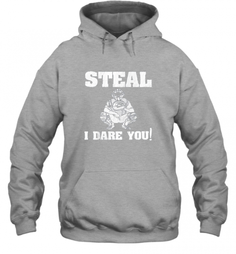 txuw kids baseball catcher gift funny youth shirt steal i dare you33 hoodie 23 front sport grey