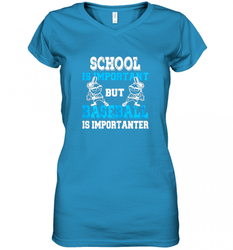 wrim school is important but baseball is importanter boys women v neck t shirt 39 front sapphire