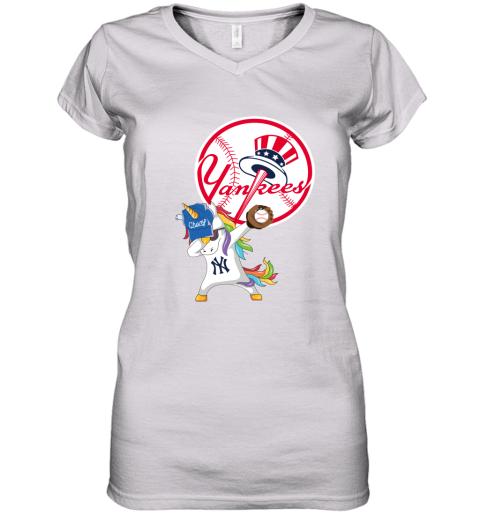 Hip Hop Dabbing Unicorn Flippin Love New York Yankees Women's V-Neck T-Shirt