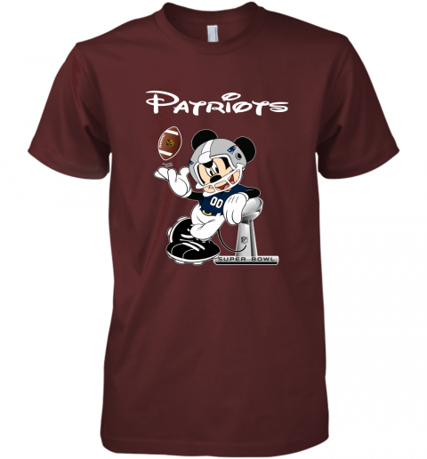 rqro mickey patriots taking the super bowl trophy football premium guys tee 5 front maroon