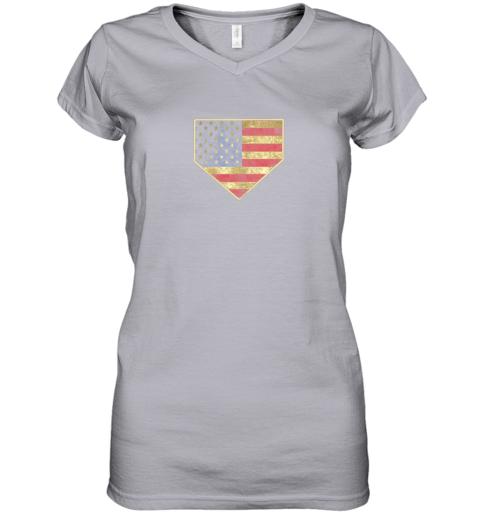 kquw vintage american flag baseball shirt home plate art gift women v neck t shirt 39 front sport grey