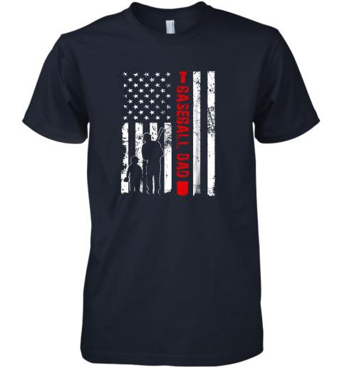 xtb5 mens proud baseball dad american flag sports premium guys tee 5 front midnight navy