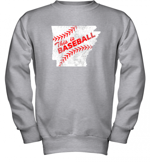muv4 this is baseball arkansas with red laces youth sweatshirt 47 front sport grey