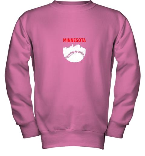 to44 retro minnesota baseball minneapolis cityscape vintage shirt youth sweatshirt 47 front safety pink