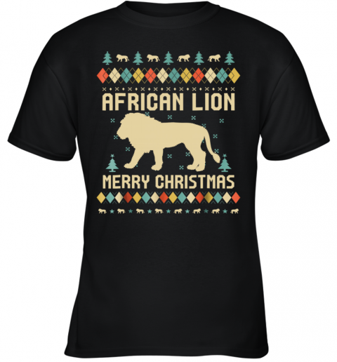 African Lion Christmas T Shirt Vintage Retro Youth T-Shirt