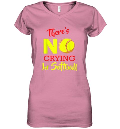 4ixs there39 s no crying in softball baseball coach player lover women v neck t shirt 39 front azalea