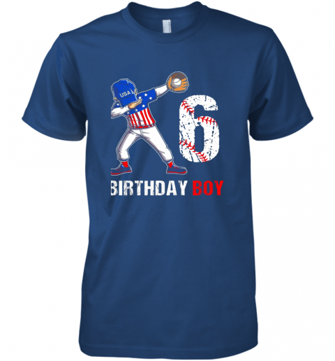 y2qy kids 6 years old 6th birthday baseball dabbing shirt gift party premium guys tee 5 front royal
