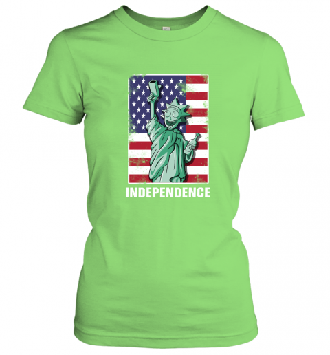 nzlr rick and morty statue of liberty independence day 4th of july shirts ladies t shirt 20 front lime