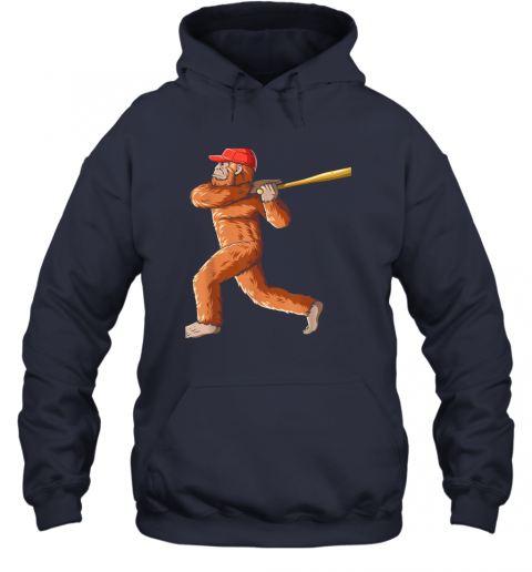 3pdz bigfoot baseball sasquatch playing baseball player hoodie 23 front navy