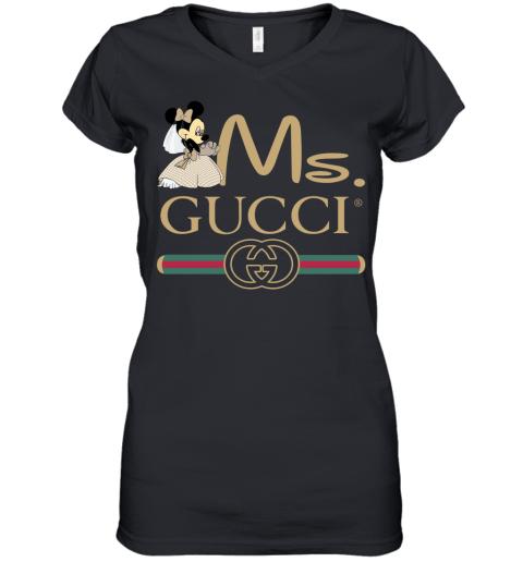 Gucci Couple Disney Ms Minnie Valentine's Day Gift Womens V-Neck T-Shirt