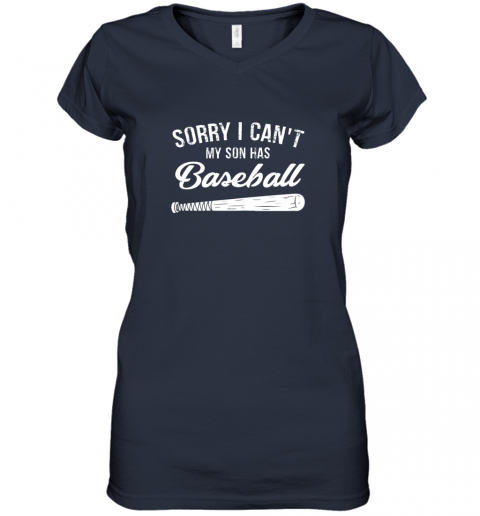 x21n sorry i cant my son has baseball shirt mom dad gift women v neck t shirt 39 front navy