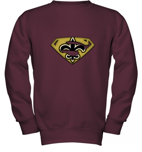 oirq we are undefeatable new orleans saints x superman nfl youth sweatshirt 47 front maroon