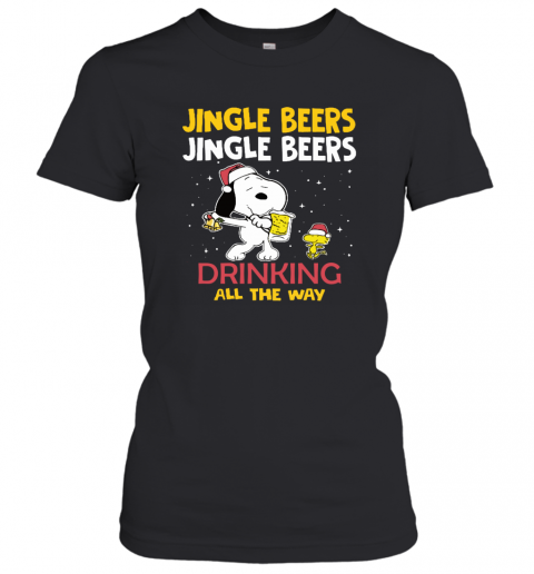 Jingle Beers Drinking All The Way Snoopy Women's T-Shirt