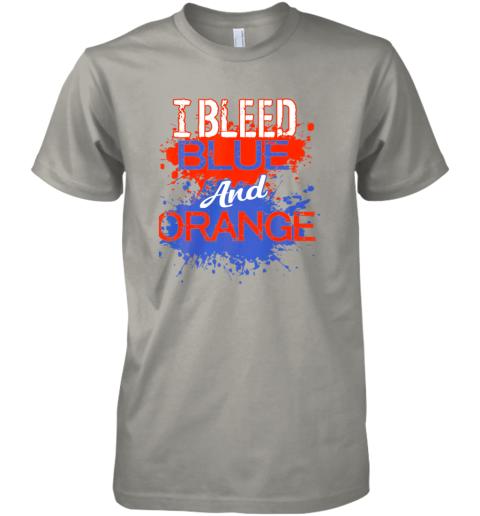 xkkv i bleed blue and orange fan shirt football soccer baseball premium guys tee 5 front light grey