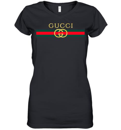 Gucci Logo Glitter Vintage Inspired Trend Womens V-Neck T-Shirt