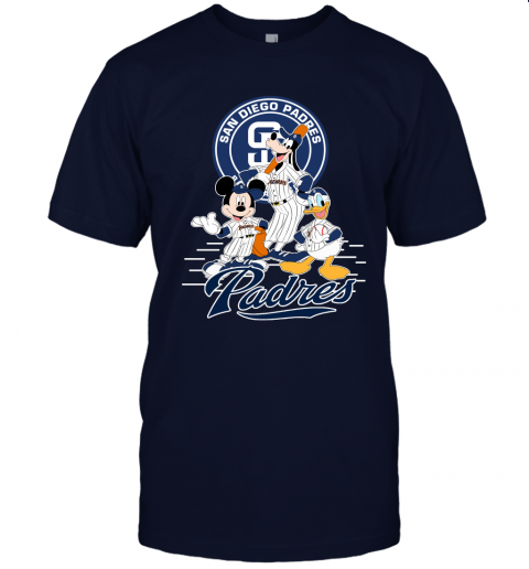 crqu san diego padres mickey donald and goofy baseball jersey t shirt 60 front navy