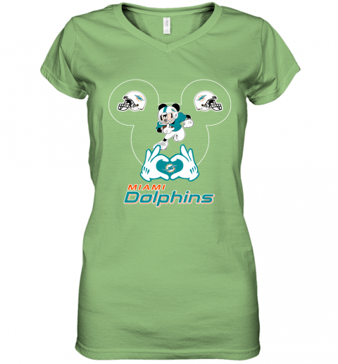 nw71 i love the dolphins mickey mouse miami dolphins women v neck t shirt 39 front lime