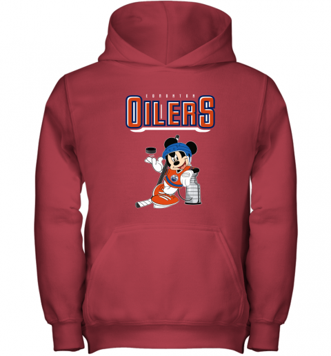stsk mickey edmonton oilers with the stanley cup hockey nhl shirt youth hoodie 43 front red