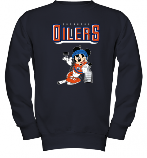 0ud6 mickey edmonton oilers with the stanley cup hockey nhl shirt youth sweatshirt 47 front navy