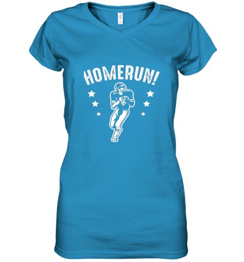 qzrc homerun football baseball mix wrong sports women v neck t shirt 39 front sapphire