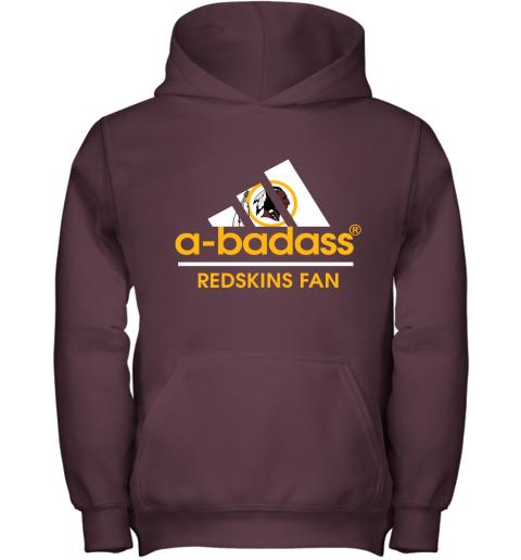 nxlz a badass washington redskins mashup adidas nfl youth hoodie 43 front maroon