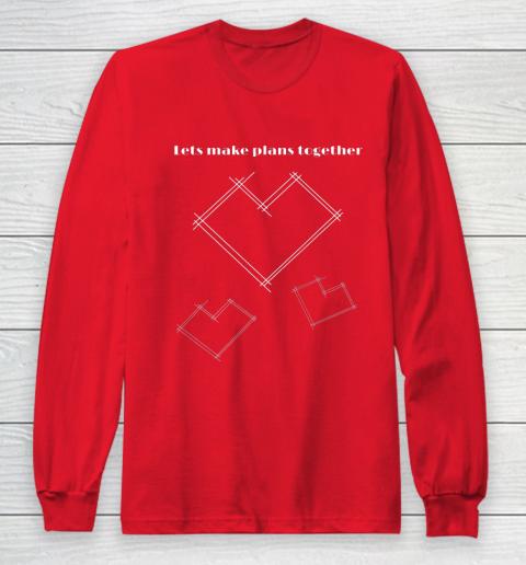 Valentine Architect T Shirt Heart Architecture Student Long Sleeve T-Shirt 7