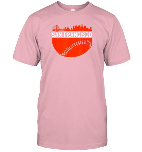 hvol san francisco baseball vintage sf the city skyline gift jersey t shirt 60 front pink