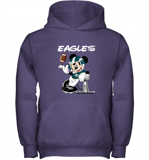 jwbo mickey eagles taking the super bowl trophy football youth hoodie 43 front purple