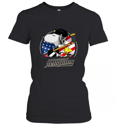 Pittsburg Peguins  Snoopy And Woodstock NHL Women's T-Shirt