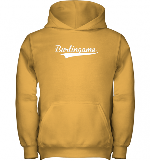 sn8z burlingame baseball softball styled youth hoodie 43 front gold