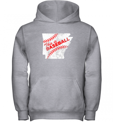 ujo8 this is baseball arkansas with red laces youth hoodie 43 front sport grey