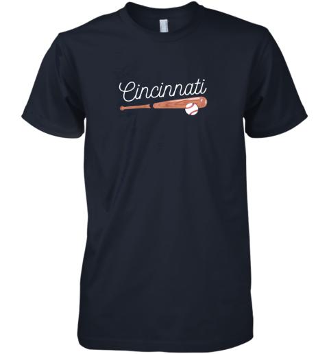 ujsh cincinnati baseball tshirt classic ball and bat design premium guys tee 5 front midnight navy