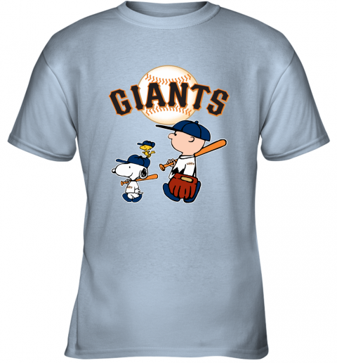l8ul san francisco giants lets play baseball together snoopy mlb shirt youth t shirt 26 front light blue