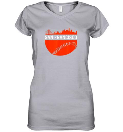 dgjs san francisco baseball vintage sf the city skyline gift women v neck t shirt 39 front sport grey