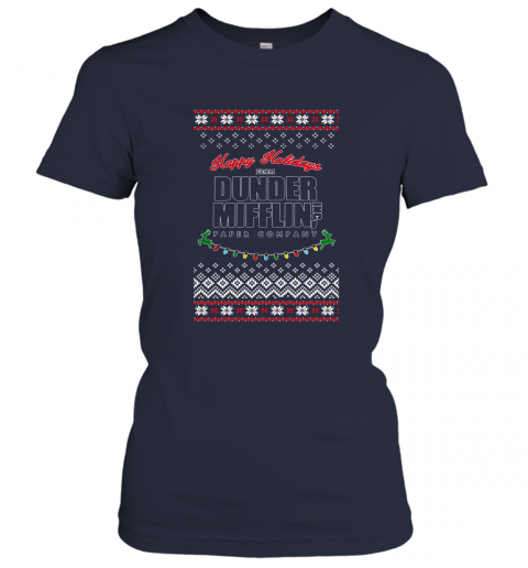 Happy Holidays From Dunder Mifflin Ugly Christmas Adult Crewneck Women's T-Shirt