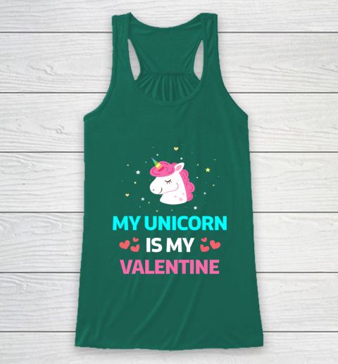 Funny Valentines Day Shirt Unicorn Is My Valentine Racerback Tank 5