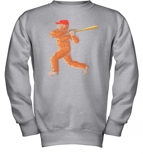 tv08 bigfoot baseball sasquatch playing baseball player youth sweatshirt 47 front sport grey