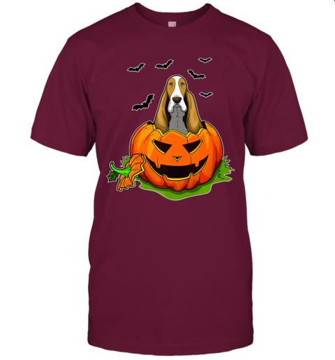 Halloween Basset Hound Dog Lovers Pumpkin Distressed Premium T-Shirt