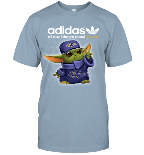 Baby Yoda Adidas All Day I Dream About Baltimore Ravens Unisex Jersey Tee