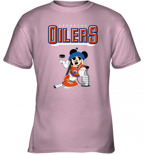 khn2 mickey edmonton oilers with the stanley cup hockey nhl shirt youth t shirt 26 front light pink