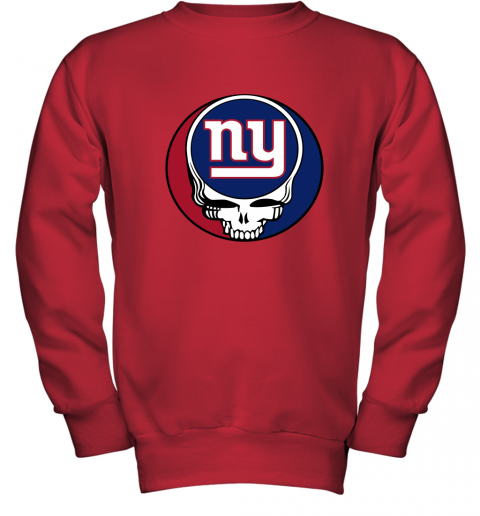 ql15 nfl team new york giants x grateful dead logo band youth sweatshirt 47 front red