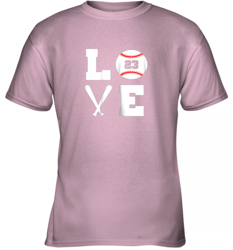 uams i love baseball player number 23 gift shirt youth t shirt 26 front light pink