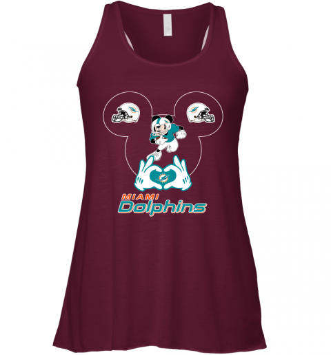 a2sk i love the dolphins mickey mouse miami dolphins flowy tank 32 front maroon
