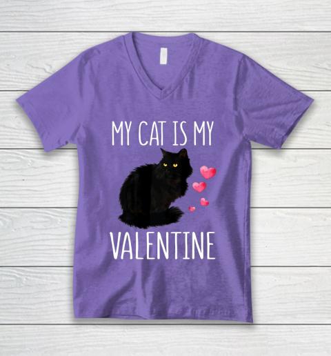 Black Cat Shirt For Valentine s Day My Cat Is My Valentine V-Neck T-Shirt 8