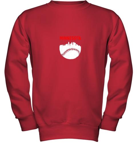 to44 retro minnesota baseball minneapolis cityscape vintage shirt youth sweatshirt 47 front red